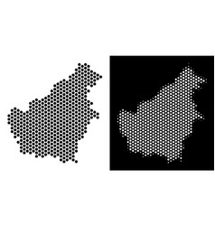 Borneo island map hex tile scheme vector