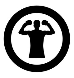 boxer icon black color in circle vector image
