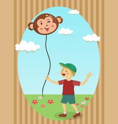 Boy holding monkey balloon vector
