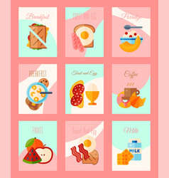 breakfast concept set of cards or banners vector image