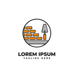 Bricklaying with pock logo icon ilustration vector