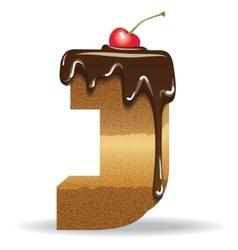 Cake letter J- birthday font vector image