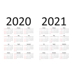 Calendar 2020 and 2021 years simple vector