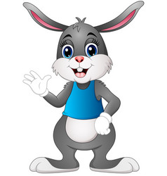 Cartoon bunny waving hand vector