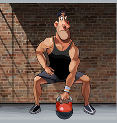 cartoon male athlete doing exercise with vector image