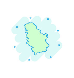 cartoon serbia map icon in comic style serbia vector image