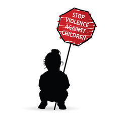 Child silhouette with sign of stop violence vector