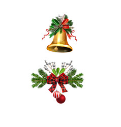 christmas decorations with fir tree golden jingle vector image