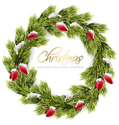 christmas fir wreath frame green fir vector image
