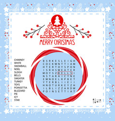 Christmas word search puzzle vector