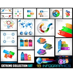 Collection of 18 infographics for social media and vector