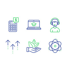 Consultant organic product and calculator icons vector