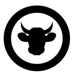 cow head icon black color in circle vector image
