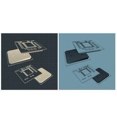 cpu blueprints vector image