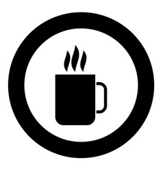 cup with hot drink icon black color in circle vector image