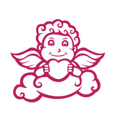 Cupid character with love silhouette version vector