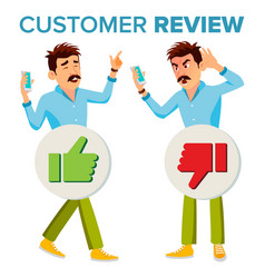 Customer review happy and unhappy man vector