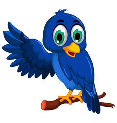 cute blue bird cartoon presenting vector image