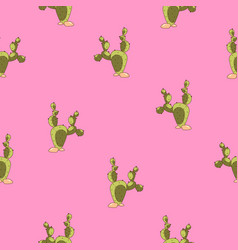 cute cactus pattern on pink background vector image