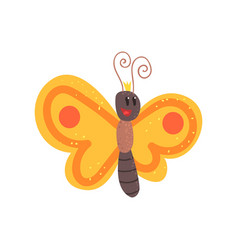 Cute cartoon orange butterfly character vector