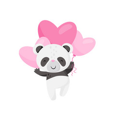 cute little panda flying with pink heart-shaped vector image