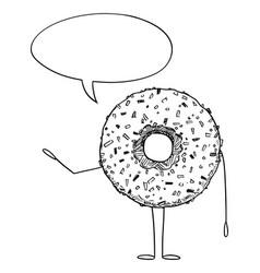 Donut or doughnut cartoon character with speech vector