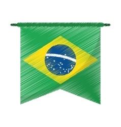 Drawing brasilian flag hanging symbol vector