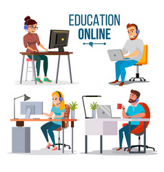 education online concept people using vector image