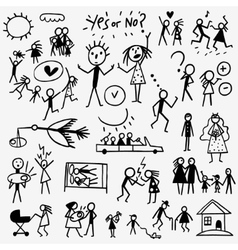 Family doodles set vector