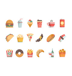fast food flat icons sandwich burger cold drinks vector image