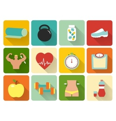 Flat healthy life icons vector