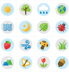 Flat Icons Nature and Tree Icons vector image