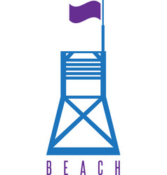 Flat lifeguard beach tower with flag vector