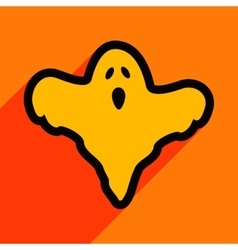 Flat with shadow icon and mobile application ghost vector