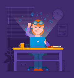 Freelancer working at night concept young woman vector