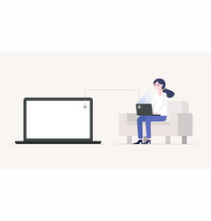 girl working or studing with laptop sitting on vector image