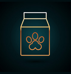 gold line bag food for pet icon isolated vector image