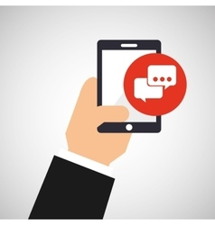 Hand holding smartphone and bubble chat vector