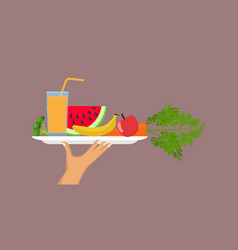 Hand holding tray with full healthy food salad vector