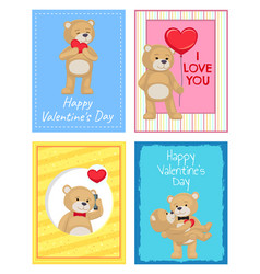 happy valentines day postcards with soft bears vector image