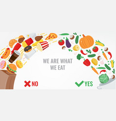 healthy lifestyle concept choose what you eat vector image
