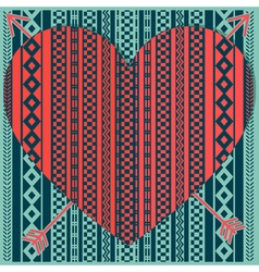 Hipster heart with patterns vector
