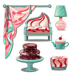 interior and bright furniture in style sweets and vector image