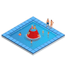 isometric water park aquapark children s slides vector image