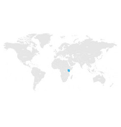 Kenya marked by blue in grey world political map vector
