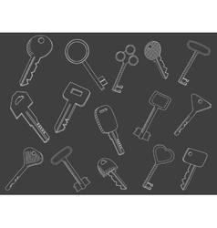 Keys set chalk vector image