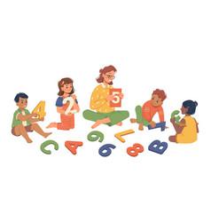 kindergarten teacher with children studying lesson vector image