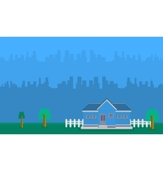Landscape of house with building vector