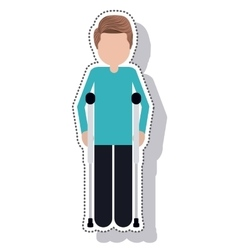 Man disable in crutch isolated icon vector