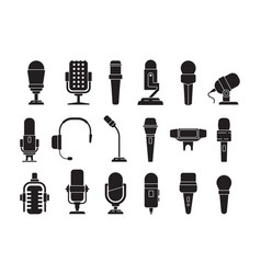 microphone icon sound record studio music speech vector image